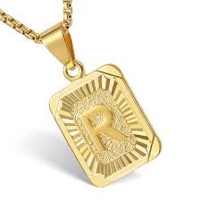 mens women chain pendant necklace gold filled square initial letter