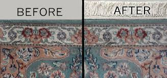 before and after images of fringe replacement on oriental rug