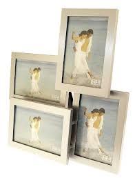 brushed aluminium satin silver colour 4 picture multi aperture photo frame gift