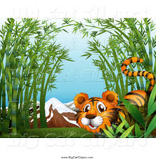 big cat cartoon vector clipart of a tiger in bamboo