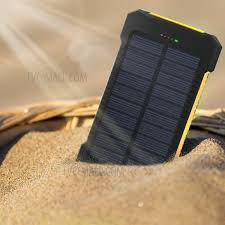 F5 Portable 10000mAh Solar Power Bank External Battery Charger with LED Light for iPhone X/