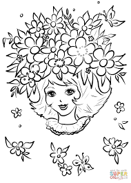 Small Picture Girl with Flower Crown coloring page Free Printable Coloring Pages