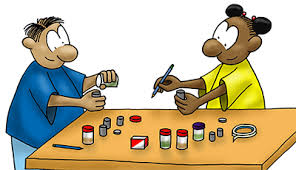 do a science fair project nasa space place cartoon of boy and girl doing experiment small containers on table