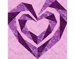 Twisting Spiral Heart quilt block paper pieced quilt patterns & 🔎zoom Adamdwight.com