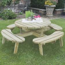 large circular timber picnic table