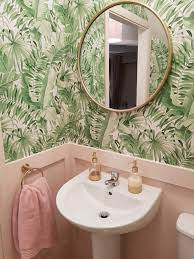 Pink and green downstairs bathroom ...
