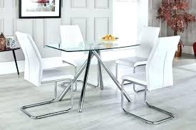 full size of round glass table with white leather chairs kitchen set brown dining clear and