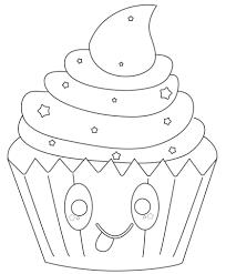 Disegno Di Cupcake Kawaii Con Stelle Da Colorare Disegni Da
