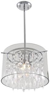 three light chrome clear crystals glass drum shade pendant