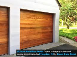 modern wood garage door. Artisan Medallion Series Sapele Mahogany Modern-Look Wood Garage Doors Installed In Princeton, NJ 08540 Modern Door E