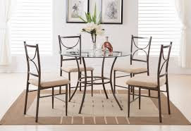 costway 5 piece kitchen dining set glass metal table and 4 chairs breakfast furniture com