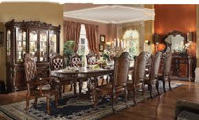 acme vendome 11pc double pedestal dining room set in cherry by