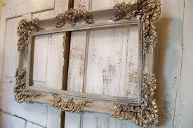 large vintage frame ornate hand painted white putty gray