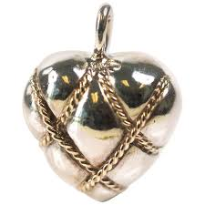 sterling silver 14 karat yellow gold puffed heart pendant charm for at 1stdibs