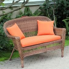 honey jeco wicker patio love seat and