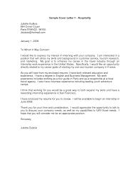 Sample Cover Letter For Hospitality Job Sample Cover Letter