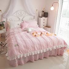 fine luxury blush pink simply shabby chic ruffle girly girls stripe quilted flannel twin full queen size bedding sets