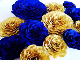 12 large paper flowers wall decor gold