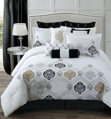 Black And White Floral Comforter Set Queen Mainstays Bed In A Bag Bedding  Damask