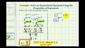 ex 4 solve exponential equations using like bases no logarithms