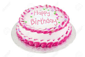 Decorated Pink Frosted Happy Birthday Cake Stock Photo Picture And
