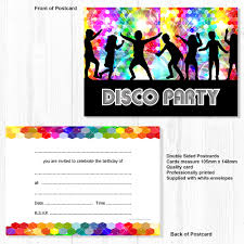 Childrens Disco Invitations Details About Disco Party Invitations Kids Birthday Invites A6 Postcard Style Pack 10