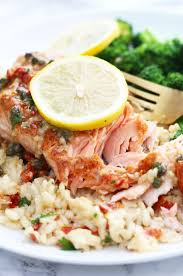 salmon piccata with capers and sun dried tomatoes is an easy gourmet meal ready