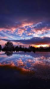 Sunset Lake Night Blue Dark Nature ...