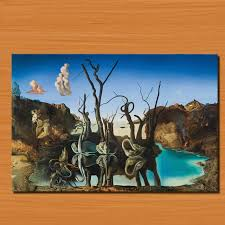 swans reflecting elephants 1937 for salvador dali art poster picture print on canvas oil