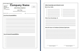 Job Description Template Word