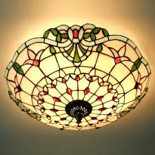 stained glass ceiling light. Stained Glass Ceiling Lighting Fixtures Incredible Flush Mount Light Three Hand Made E