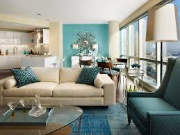 Living Room Blue And Brown Living Room White Shelves Gray Recliners Gray Sofa Brown Chairs