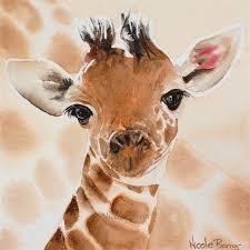 baby giraffe wall art print watercolour painting 8 x8 kids prints
