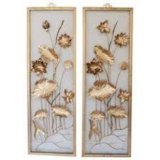 nostalgic pair of gold toned on aluminum framed wall sculptures both have a water lily motif the pieces are close to the same design  on vintage metal wall art gold with vintage metal floral wall art asian decor by rosebudshome on etsy