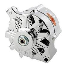 8 37101 mustang powermaster alternator 100 amp one wire v belt powermaster alternator 100 amp one wire v belt pulley smooth look chrome plated