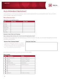 Attendant Sheet Fillable Online Auto Attendant Worksheet Fax Email Print