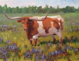 plein air cows ranch dairy cattle bevo longhorn 11 x 14 original painting a day
