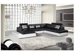 4pcs black white faux leather sectional sofa