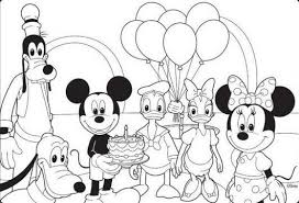 Small Picture Mickey Mouse Disney Happy Birthday Coloring Pages Birthday