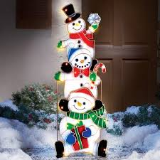 Lighted Stacked Snowmen Outdoor Decoration