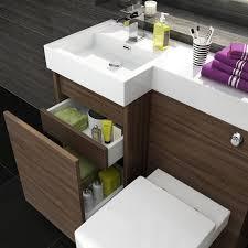 Bathroom Suites Ebay 900mm Walnut L Shape Bathroom Suite With Toilet And Basin Vanity Unit