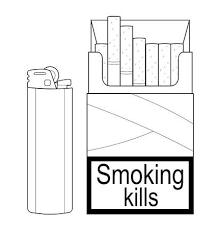 使い捨てガスライターを開いてタバコのパック分離された黒と白の