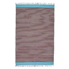 shuttlewoven cotton dhurrie turquoise with brown and white stripes