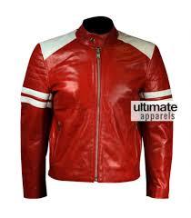 fight club brad pitt mayhem red jacket with white stripes