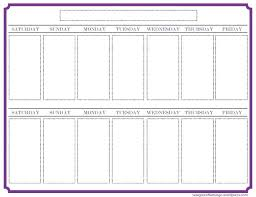 Blank 2 Week Calendar Free Template Two Weekly Templates