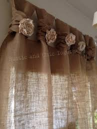 burlap curtains tea dyed rosettes wide tabs