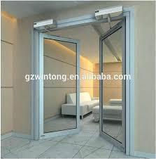pivot swing door aluminium frame glass floor spring space saving double doors on hinges