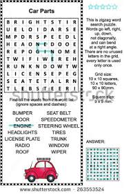 stock vector car parts themed zigzag word search puzzle suitable both for kids and adults answer included
