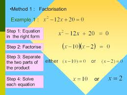 for solving quadratic equations method 2 quadratic formula method 1 factorisation method 4 graphic calculator method 3 completing the square