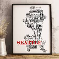 seattle map art seattle art print seattle neighborhood map with best and newest seattle map wall on best wall art in seattle with explore photos of seattle map wall art showing 6 of 20 photos